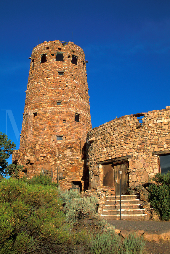 The Watchtower, stone building on the South Rim, at Desert View, Grand Canyon National Park, Arizona.