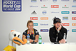 The Hague, Netherlands, June 05: Charlotte De Vos #15 of Belgium and head coach Pascal Kina of Belgium during press conference after the field hockey group match (Women - Group A) between Belgium and Australia on June 5, 2014 during the World Cup 2014 at Kyocera Stadium in The Hague, Netherlands. Final score 2:3 (1:1) (Photo by Dirk Markgraf / www.265-images.com) *** Local caption ***