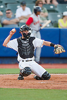 Hudson Valley Renegades catcher Mac James (9) on defense against the Brooklyn Cyclones at Dutchess Stadium on June 18, 2014 in Wappingers Falls, New York.  The Cyclones defeated the Renegades 4-3 in 10 innings.  (Brian Westerholt/Four Seam Images)