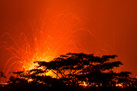lava emanating from Kilauea Volcano, erupts at night from a fissure in the east rift zone, near a residence off Highway 132 between Pahoa and Kapoho in Puna, Big Island, Hawaii, USA, wobbles in the light streaks are caused by the ground shaking and vibrating the camera tripod when violent explosions ejected lava bombs high into the sky