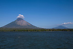 View of la Isla de Ometepe (Ometepe Island) with its two active volcanoes from the San Jorge ferry, Nicaragua