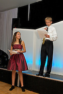 Brother and sister reading speaches at their B'Nai Mitzvah celebration.