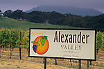 Sign and vineyards at Alexander Valley, Sonoma County, California