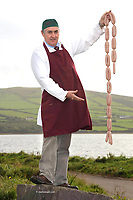 Jerry Kennedy, The Dingle Butcher with his sausages which won a gold medal award at the Blas na h-Eireann Food awards during the Dingle Food &amp; Wine festival at the weekend.<br /> Picture by Don MacMonagle