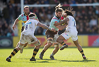 Harlequins' Luke Wallace is tackled by Wasps' Kyle Eastmond<br /> <br /> Photographer Bob Bradford/CameraSport<br /> <br /> Aviva Premiership Round 14 - Harlequins v Wasps - Sunday 11th February 2018 - Twickenham Stoop - London<br /> <br /> World Copyright &copy; 2018 CameraSport. All rights reserved. 43 Linden Ave. Countesthorpe. Leicester. England. LE8 5PG - Tel: +44 (0) 116 277 4147 - admin@camerasport.com - www.camerasport.com