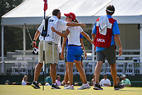 Carlota Ciganda (ESP) congratulates Gina Kim's (a)(USA) caddie following round 4 of the 2019 US Women's Open, Charleston Country Club, Charleston, South Carolina,  USA. 6/2/2019.<br /> Picture: Golffile | Ken Murray<br /> <br /> All photo usage must carry mandatory copyright credit (© Golffile | Ken Murray)