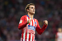 Antoine Griezmann of Atletico Madrid celebrating after scoring a goal during the match between Real Madrid v Rayo Vallecano of LaLiga, 2018-2019 season, date 2. Wanda Metropolitano Stadium. Madrid, Spain - 25 August 2018. Mandatory credit: Ana Marcos / PRESSINPHOTO
