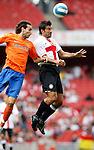 Inter Milan's Luis Figo challenges Valencia's Emiliano Moretti.Pic SPORTIMAGE/Simon Bellis..Pre-Season Friendly..Internazionale v Valencia..28th July, 2007..--------------------..Sportimage +44 7980659747..admin@sportimage.co.uk..http://www.sportimage.co.uk/