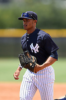 GCL Yankees 2 outfielder Jordan Barnes (20) jogs to the dugout during a game against the GCL Braves on June 23, 2014 at the Yankees Minor League Complex in Tampa, Florida.  GCL Yankees 2 defeated the GCL Braves 12-4.  (Mike Janes/Four Seam Images)