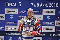 MOTORSPORT: HEERENVEEN: 08-04-2018, WK IJsspeedway, Wereld Kampioen Dmitri Koltakov, ©foto Martin de Jong