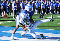 October 22, 2016 - Colorado Springs, Colorado, U.S. -   Hawaii defensive back, Jalen Rogers #19, intercepts an overtime Falcon pass and seals the Rainbow Warrior victory during the NCAA Football game between the University of Hawaii Rainbow Warriors and the Air Force Academy Falcons, Falcon Stadium, U.S. Air Force Academy, Colorado Springs, Colorado.  Hawaii defeats Air Force in double overtime 43-27.