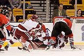 Alex Meintel (Harvard - 21), Brad Thiessen (NU - 39), Jon Pelle (Harvard - 11), Jacques Perreault (NU - 9) - The Northeastern University Huskies defeated the Harvard University Crimson 3-1 in the Beanpot consolation game on Monday, February 12, 2007, at TD Banknorth Garden in Boston, Massachusetts.