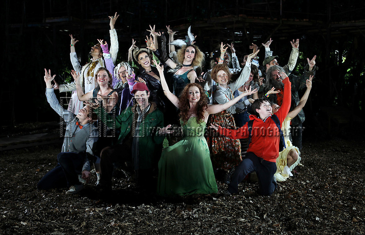 Gideon Glick, Ivan Hernandez, Jessie Mueller, Tina Johnson, Ellen Harvey, Bethany Moore, Denis O'Hare, Donna Murphy, Amy Adams, Eric R. Williams, Sarah Stiles, Chip Zien, Tess Soltau & Jack Broderick during the Opening Night Performance Curtain Call for  The Public Theater's 'Into The Woods' at the Delacorte Theater in New York City on 8/9/2012.