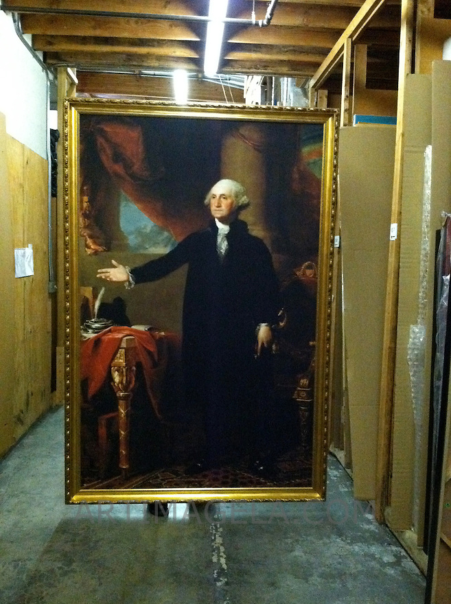 Reproduction of Gilbert Stuart (1755-1828)<br /> George Washington (Lansdowne Portrait). 1796. Oil on canvas. Place of execution: Germantown.  Location:  National Portrait Gallery, Smithsonian Institution. Reproduction Stretcher only: Portrait from the National Portrait Gallery