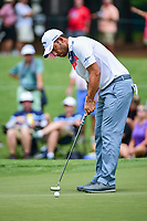 Pablo Larrazabal (ESP) watches his putt on 4 during Friday's round 2 of the PGA Championship at the Quail Hollow Club in Charlotte, North Carolina. 8/11/2017.<br /> Picture: Golffile | Ken Murray<br /> <br /> <br /> All photo usage must carry mandatory copyright credit (&copy; Golffile | Ken Murray)