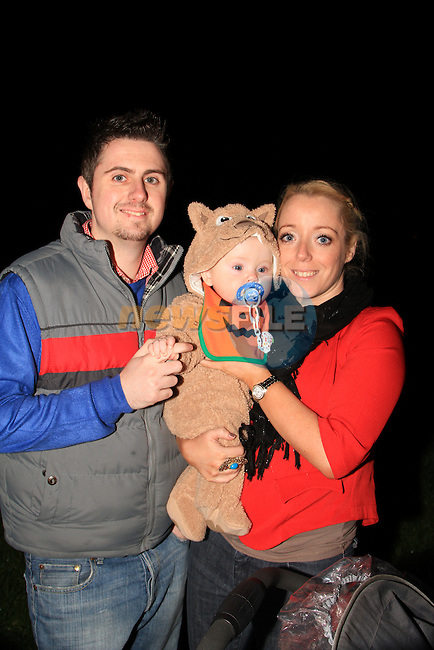Patrick, Jack and Tara Maguire at the bonfire in ballsgrove..Picture: Shane Maguire / www.newsfile.ie.