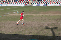 Josh Windass of Accrington Stanley warms up on a Rodney Parade pitch which staged Pro 12 rugby the previous day and heavy rain overnight, ahead of the Sky Bet League 2 match between Newport County and Accrington Stanley at Rodney Parade, Newport, Wales on 28 March 2016. Photo by Mark  Hawkins.