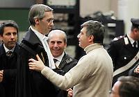 Nicolo Ghedini e Valter Lavitola in aula durante il processo per la compravendita dei senatori il processo