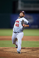 Brevard County Manatees relief pitcher Junior Rincon (45) delivers a pitch during a game against the Fort Myers Miracle on April 13, 2016 at Hammond Stadium in Fort Myers, Florida.  Fort Myers defeated Brevard County 3-0.  (Mike Janes/Four Seam Images)