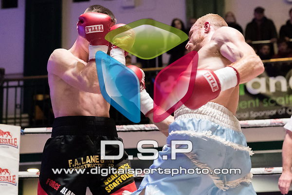 Liam Dillon vs Jamie Quinn 4x3 - Lightweight Contest During Goodwin Boxing - Summit. Photo by: Simon Downing.<br /> <br /> Saturday December 2nd 2017 - York Hall, Bethnal Green, London, United Kingdom.