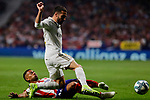 Renan Lodi of Atletico de Madrid and Jose Maria Gimenez of Real Madrid during La Liga match between Atletico de Madrid and Real Madrid at Wanda Metropolitano Stadium{ in Madrid, Spain. {iptcmonthname} 28, 2019. (ALTERPHOTOS/A. Perez Meca)