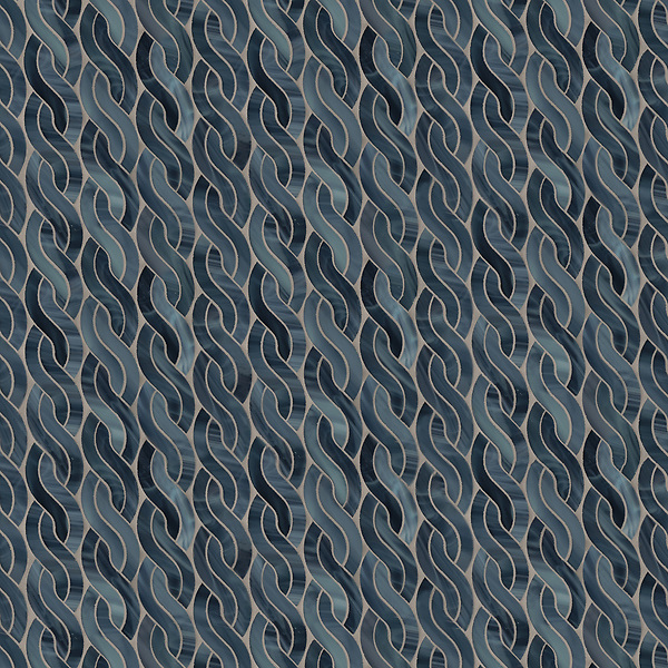 Cable Knit Small, a waterjet  jewel glass mosaic, shown in Marcasite, is part of the Tissé® collection for New Ravenna.