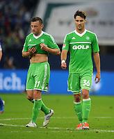 FUSSBALL   1. BUNDESLIGA  SAISON 2012/2013   7. Spieltag   FC Schalke 04 - VfL Wolfsburg        06.10.2012 Ivica Olic (li) und Srdjan Lakic (re, beide VfL Wolfsburg) sind nach dem Abpfiff enttaeuscht