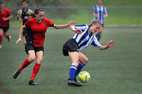 Action from the 2019 Grant Jarvis NZ Secondary Schools Girls' 1st XI football tournament match between Havelock North High School and Sacred Heart College (Lower Hutt) at Wakefield Park in Wellington, New Zealand on Thursday, 5 September 2018. Photo: Dave Lintott / lintottphoto.co.nz