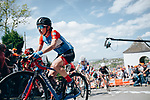 Ane Santesteban Gonzalez (ESP) WNT-Rotor Pro Cycling climbs Mur de Huy during La Fl&egrave;che Wallonne Femmes 2019, running 118.5km from Huy to Huy, Belgium. 24th April 2019<br /> Picture: ASO/Thomas Maheux | Cyclefile<br /> All photos usage must carry mandatory copyright credit (&copy; Cyclefile | ASO/Thomas Maheux)