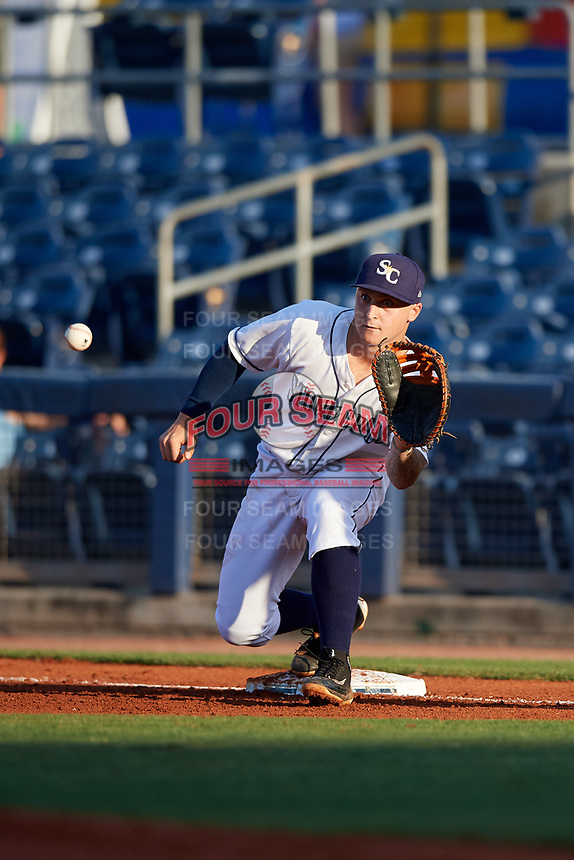 Charlotte Stone Crabs first baseman Robbie Tenerowicz (1) waits to receive a throw during a game against the Palm Beach Cardinals on April 20, 2018 at Charlotte Sports Park in Port Charlotte, Florida.  Charlotte defeated Palm Beach 4-3.  (Mike Janes/Four Seam Images)