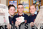 DANGER: Causeway Comprehensive School students Donna O'Sullivan (Causeway), Luke ward (Kilflynn) and Kerry McNamara (Lixnaw) who are involved in a major project which looks at young people and gambling.