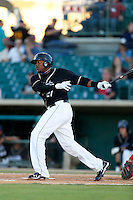 Telvin Nash #21 of the Lancaster JetHawks bats against the Visalia Rawhide at The Hanger on May 30, 2013 in Lancaster, California. Lancaster defeated Visalia, 15-2. (Larry Goren/Four Seam Images)