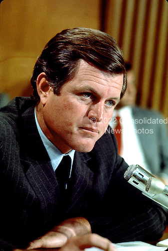 "Washington, DC - (FILE) -- United States Senator Edward M. ""Ted"" Kennedy (Democrat of Massachusetts) at a Senate Committee hearing circa February, 1969..Credit: Arnie Sachs / CNP"