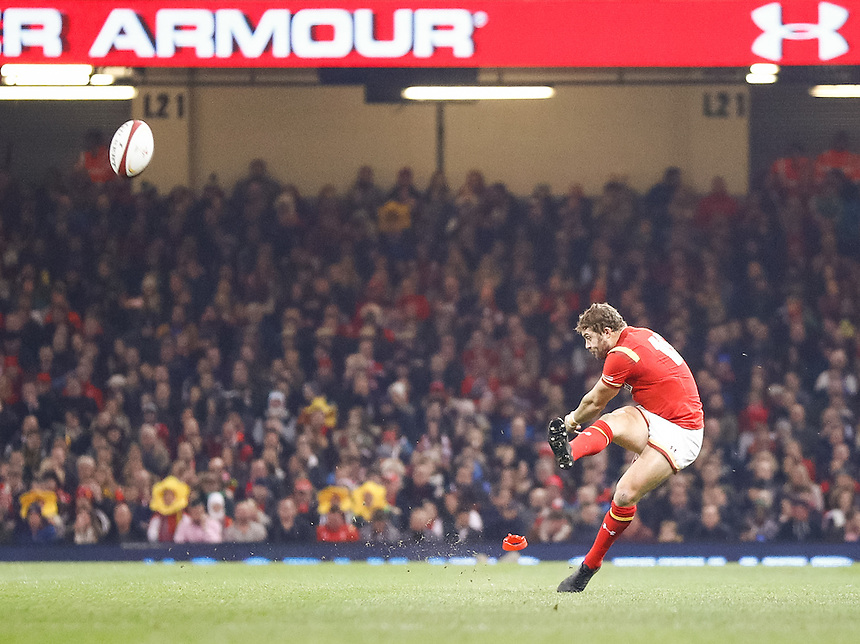 Wales' Leigh Halfpenny kicks a penalty<br /> <br /> Photographer Simon King/CameraSport<br /> <br /> International Rugby Union Friendly - Wales v South Africa - Saturday 26th November 2016 - Principality Stadium - Cardiff<br /> <br /> World Copyright &copy; 2016 CameraSport. All rights reserved. 43 Linden Ave. Countesthorpe. Leicester. England. LE8 5PG - Tel: +44 (0) 116 277 4147 - admin@camerasport.com - www.camerasport.com