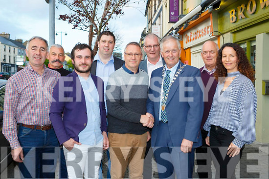 Cllr John Joe Culloty, Patrick Pennangver, Neil Browne, Cllr Nial Kelliher, Roger Cavnot, Hugh O'Connell, Mayor Brendan Cronin, John O'Donoghue at the Castleisland/Bannalec twinning 10th anniversary celebrations in Brownes bar on Sunday night