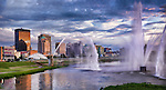 Dayton ohio skyline with fountains (purple)