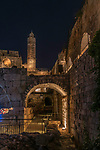 The Tower of David or the Citadel in the Armenian Quarter of the Old City of Jerusalem at dusk.  The Old City of Jerusalem and its Walls is a UNESCO World Heritage Site