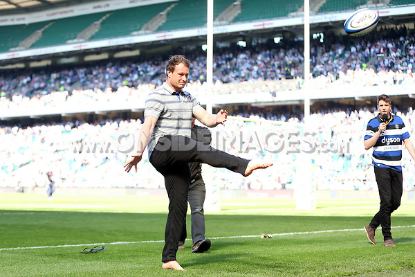 Jack Wilson at the bmi half-time activation. The Clash, Aviva Premiership match, between Bath Rugby and Leicester Tigers on April 8, 2017 at Twickenham Stadium in London, England. Photo by: Rogan Thomson / JMP for Onside Images
