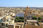 Domed roof of basilica St George church in town centre of Victoria Rabat, Gozo, Malta