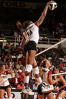 7 October 2005: Foluke Akinradewo during Stanford's 3-1 loss to Washington at Maples Pavilion in Stanford, CA