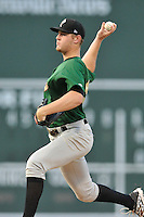 Pitcher Josh Prevost (39) of the Savannah Sand Gnats delivers a pitch in a game against the Greenville Drive on Thursday, September 3, 2015, at Fluor Field at the West End in Greenville, South Carolina. (Tom Priddy/Four Seam Images)