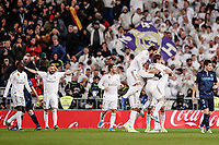 23rd November 2019; Estadio Santiago Bernabeu, Madrid, Spain; La Liga Football, Real Madrid versus Real Sociedad; Federico Valverde (Real Madrid)  celebrates his goal with team mates which made it 2-1