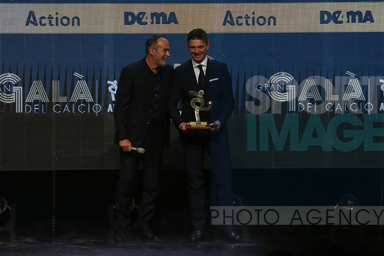Antonio Cabrini presents Gianluca Rocchi with the Best Referee of 2019 Award pictured at the The Italian Footballers Association Grand Gala of Football at the Megawatt Court, Milan. Picture date: 2nd December 2019. Picture credit should read: Jonathan Moscrop/Sportimage