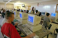 High school students in computer programming classroom. High School Students. Rio Rancho New Mexico USA.