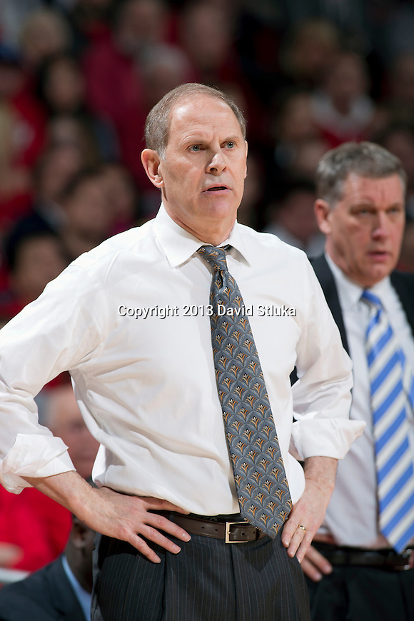 Michigan Wolverines Head Coach John Beilein looks on during a Big Ten Conference NCAA college basketball game against the Wisconsin Badgers Saturday, February 9, 2013, in Madison, Wis. The Badgers won 65-62 (OT) (Photo by David Stluka)