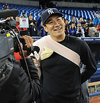 Masahiro Tanaka (Yankees),<br /> APRIL 4, 2014 - MLB :<br /> Masahiro Tanaka of the New York Yankees is interviewed after the baseball game against the Toronto Blue Jays at Rogers Centre in Toronto, Ontario, Canada. Tanaka made his major league debut in the 7-3 Yankees win. (Photo by AFLO)
