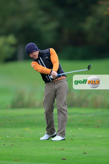 Jussi Pitkanen (Dave Pelz Scoring Game School) on the 15th tee during Round 4 of The Cassidy Golf 103rd Irish PGA Championship in Roganstown Golf Club on Sunday 13th October 2013.<br /> Picture:  Thos Caffrey / www.golffile.ie