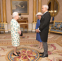 14 June 2017 - Queen Elizabeth II is presented with the Letters of Recall of his predecessor and his own Letters of Credence by His Excellency Julian Ventura Valero, the Ambassador from the United Mexican States, as Mrs Mariana Luiselli looks on, during a private audience in Buckingham Palace, central London. Photo Credit: ALPR/AdMedia