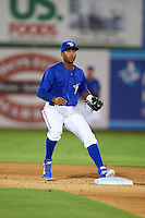 Dunedin Blue Jays shortstop Richard Urena (7) touches second for the force out during the second game of a doubleheader against the Palm Beach Cardinals on July 31, 2015 at Florida Auto Exchange Stadium in Dunedin, Florida.  Dunedin defeated Palm Beach 4-0.  (Mike Janes/Four Seam Images)