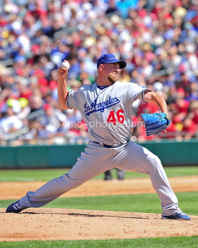 Mar 25, 2011; Tucson, AZ, USA; Los Angeles Dodgers pitcher Tim Redding (46) throws a pitch in the 4th inning of a charity exhibition game against the Arizona Diamondbacks at the Kino Sports Complex.